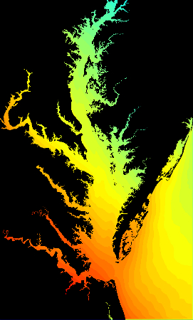 Snapshot from numerical simulation of flooding in Chesapeake Bay