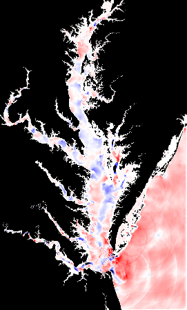 Snapshot from numerical simulation of internal M2 tide in Chesapeake Bay